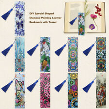 5D DIY Butterfly Special Shaped Diamond Painting Leather Bookmark with Tassel