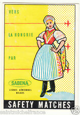 Hungary HONGRIE  COSTUME MATCHBOX LABEL CARD 60s