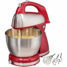Mixer with Stainless Steel Mixing Bowl, Detachable Hand Mixer, Red
