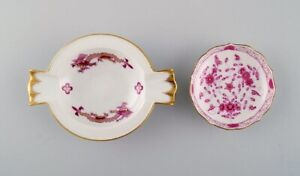 Two Meissen caviar bowls in porcelain with hand-painted pink decoration.