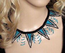 Blue Silver Tribale Africaine Zulu Perles Bijoux Collier Tour de Cou Fête Glamour