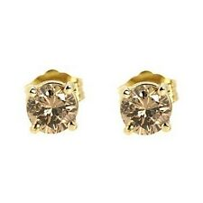 1.00CT FANCY CHAMPAGNE BROWN DIAMOND STUD EARRINGS 14K YELLOW GOLD