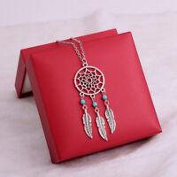Retro Dream Catcher Turquoise Feather Charm Pendant Long Trendy  Chain Necklace