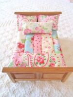 Dolls House Bedding Set 1/12th Patchwork Quilt Cath Kidston Fabrics Handmade
