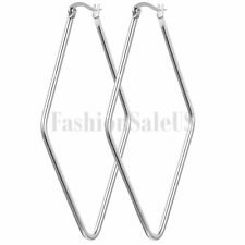 Stylish Stainless Steel Women's Geometric Rhombus Shaped Hoop Huggie Earrings