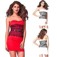 Sz 10 12 14 Sexy Mini Strapless Club Wear Bodycon Black Lace Formal Party Dress