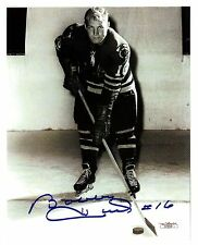 Bobby Hull, early reprint auto on-ice pose-#16 Road uniform-Rookie Photo?