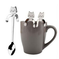 Cute Cat Stainless Steel Ice Cream Cocktail Teaspoons Coffee Soup Tea Spoons