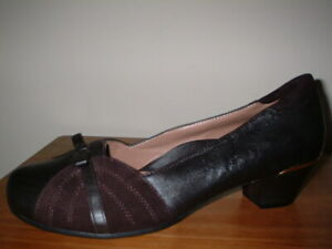 HOTTER DELRAY DARK BROWN LEATHER/SUEDE TRIM 1940S STYLE  COURT SHOES 8/42 STD