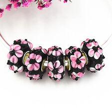 5pcs MURANO Lampwork charm Beads fit 925 silver European Bracelet Chain a285