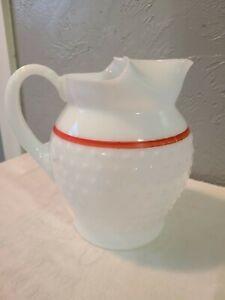 Vintage MacBeth-Evans Machob Milk Glass Hobnail Pitcher with Red Line