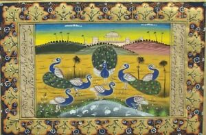 Peacock bird art museum royal academy Indian miniature painting for sale