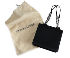 Giorgio Armani Women's Evening Bag Handbag Clutch, Black satin gunmetal links
