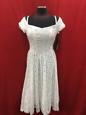 CHETTA B DRESS/NEW WITH TAG/RETAIL$149/SIZE 12/LINED/COTTON/WHITE
