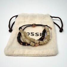 Fossil Ladies Bracelet Leather beige / tortoise / rose gold tone Ja6438791