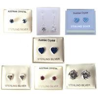 Sterling Silver Earrings Body Piercing Jewellery Studs Cubic Zirconia Crystal UK