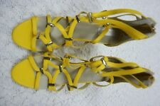 NUDE yellow 100% leather strappy stiletto high heels size 39EUR/8AU NWOT