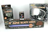 Spirit Halloween Lighting lot 4 Led Strobe Black Light Boxed Strobe Orange Bulb