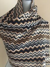 AUTHENTIC MISSONI ZIG-ZAG KNIT WOOL BLENDED SCARF BLACKS MULTI MADE IN ITALY NEW