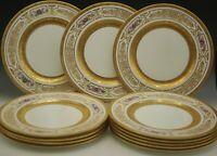 "GEORGE JONES CRESCENT HEAVY GOLD ENCRUSTED SET OF 12 DINNER PLATES 10.5"" ANTIQUE"