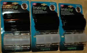 Lot of 6 Linziclip Maxi Linziclips Hair Claw Clips Clamps Black & White 3-1/8""