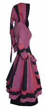 RED PURPLE PINK BLACK RAINBOW LONG PIXIE HOOD COAT s m 10 12 hippie hippy elf
