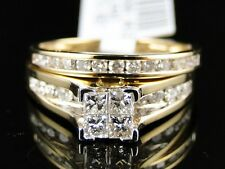 10K Ladies Yellow Gold Princess Cut Diamond Bridal Engagement Ring Set .90Ct