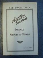 THE AUSTIN SEVEN SCHEDULE OF CHARGES FOR REPAIRS PUB:832D JUNE 1934