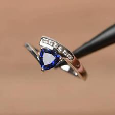 1ct Trillion Cut Blue Sapphire Bypass Style Engagement Ring 14k WhiteGold Finish