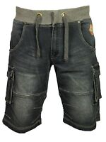 Mens King Size Cargo Combat Elasticated Shorts in Dark Colour All Sizes 40 - 60