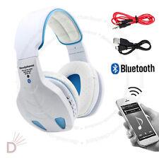 Multi Function Bluetooth Wireless TF MIC Hands-free White Headset Headphone UKDC
