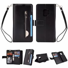 Black zipper 9 card slot wallet Leather Cover strap for iphone X Samsung S9