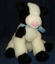 """Animal Alley 2000 Black and White Cow Plush 5p20 Blue White Gingham Bow 15"""""""