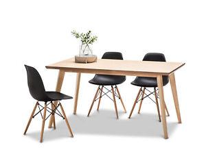 Scandinavian 1.5M Dining Table Set Oak Wood w 4x BLACK Replica Eames Chairs