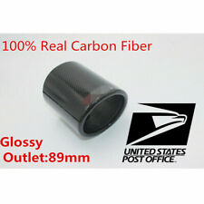 """3.5"""" Outlet Real Carbon Fiber Auto Car Exhaust Pipe Muffler Tip Cover w/ Logo #"""
