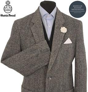 Harris Tweed Jacket Blazer 40R Herringbone Country Weave Hunting Hacking Grey