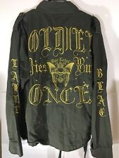 Blac Label Bomber Jacket Army Green Men's XL Old English Lettering Embroidered