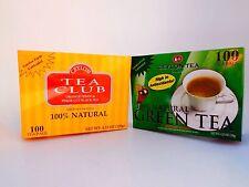 (2 BOXES) Ceylon Tea Club  Green Tea (Black)Tea Bag-100 Staple-Free Bags per Box
