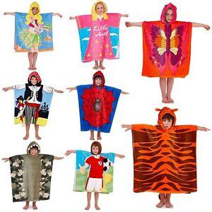 Kids Boys Girls Novelty Character Hooded Swim Beach Bath Towel Tiger Hula Poncho