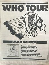 The Who-On Tour Vintage Rolling Stone Original Ad Roger Daltrey Pete Townshend