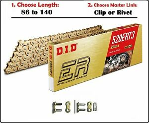 D.I.D DID 520 ERT3 Non-sealed Drive Chain Gold with Clip or Rivet Master Link