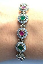 GENTLE!  TURKISH HANDMADE RUBY EMERALD TOPAZ STERLING SILVER 925K BRACELET