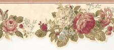 Wallpaper Border Victorian Cottage Style Floral Rose Red Coral Sage Green Cream