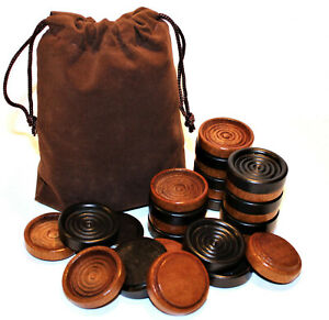 """Set of 26 Stacking 1 1/4"""" Wood Checkers w/ Bag – Made in USA – Black Walnut"""
