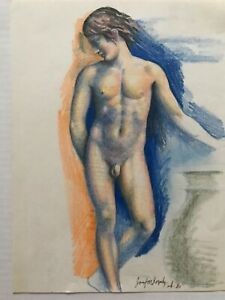 "Vintage Josef M Kozak Original Art Painting/Drawing ""INHIBITION"" Signed Unframed"