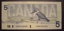 Canada 1986 BC-56e $5 Changeover Note GPW9956229 - ChUnc