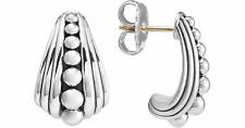 LAGOS Caviar Fluted Sterling Silver Half Hoop Graduated Stud Earrings
