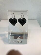 LALIQUE Heart Black Sterling Silver Crystal Pierced EARRINGS