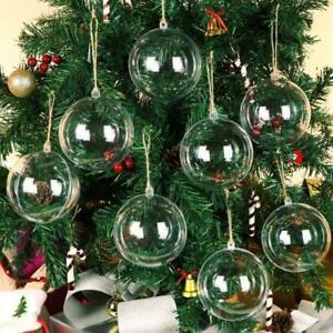 10pcs Clear Plastic Christmas Balls Sphere Fillable XMAS Hanging Ornament Decor