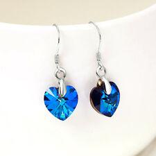 Ohrhänger Herz des Ozeans echt Sterlingsilber 925 blau Kristall Ohrringe